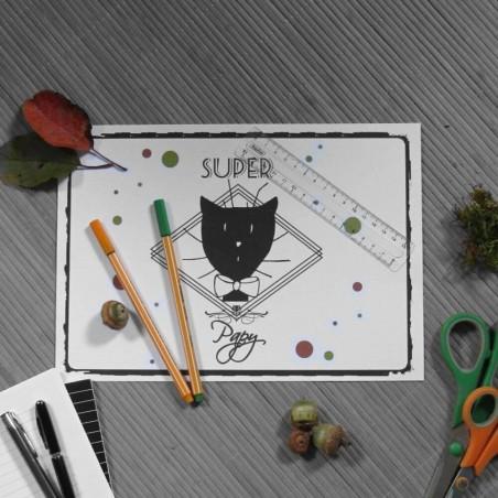 Sous-main chat, Super papy, tête de chat noir, A4, mise en situation,Tribu de chats