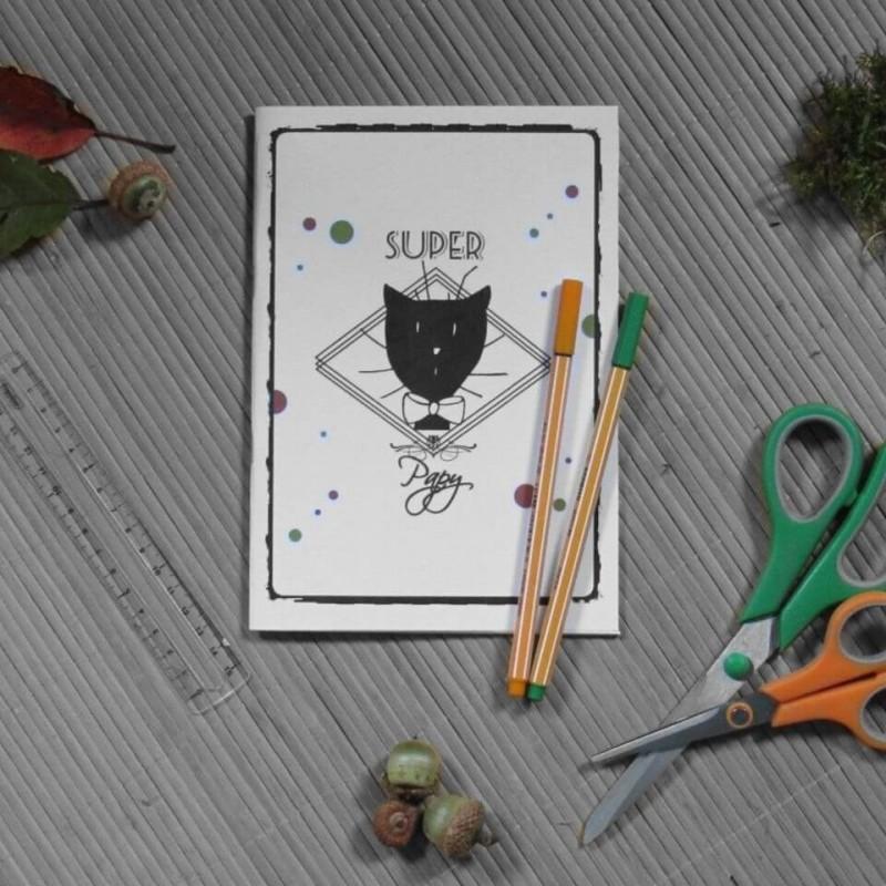 Carnet de notes chat, Super papy, motif tête de chat Monsieur, mise en scène, Tribu de chats.