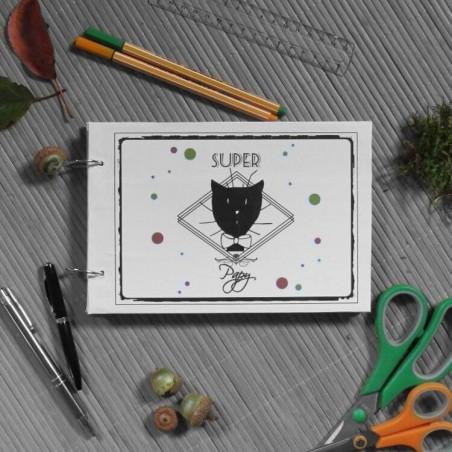 Album photos chat, Super papy, motif tête de chat Monsieur, mise en scène, Tribu de chats.