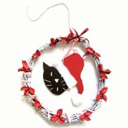 Couronne de Noël en bois à accrocher, tête de chat avec bonnet de Père Noël, Tribu de chats