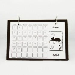 Calendrier de bureau mensuel 2020, illustré de silhouettes de chats noirs, juin, Tribu de chats