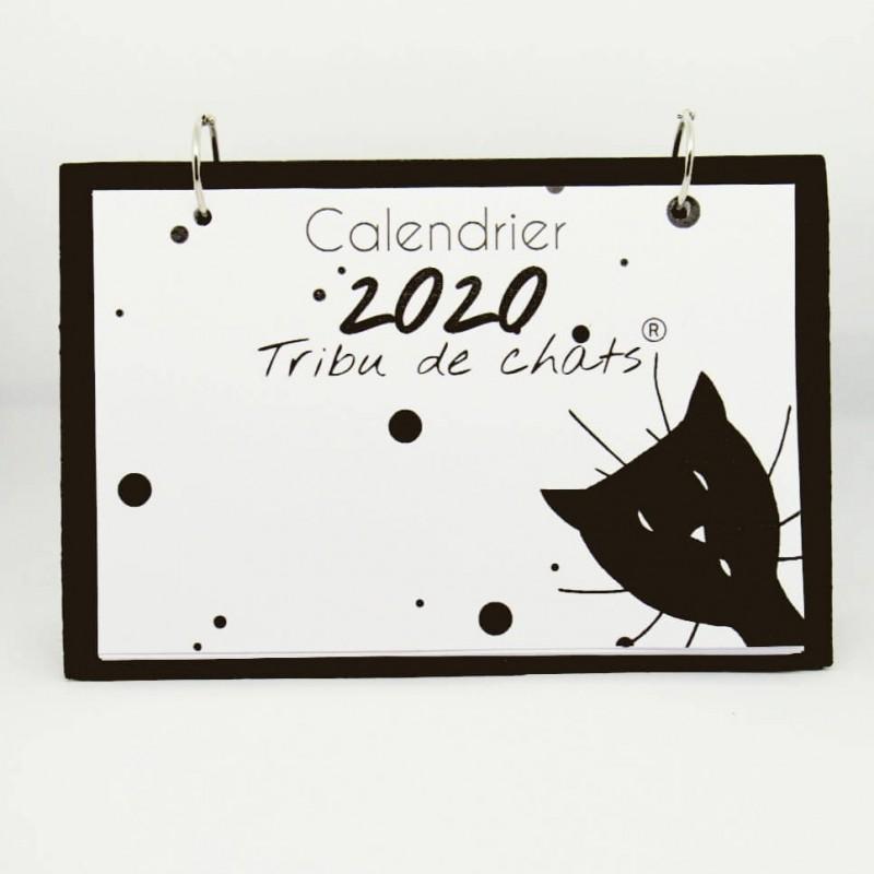Calendrier de bureau mensuel 2020, illustré de silhouettes de chats noirs, Tribu de chats, couverture