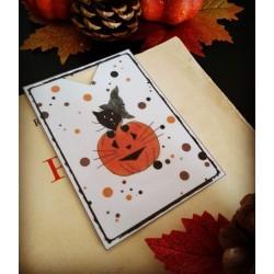Marque-page  Halloween, chat sorcier et citrouille, Tribu de chats