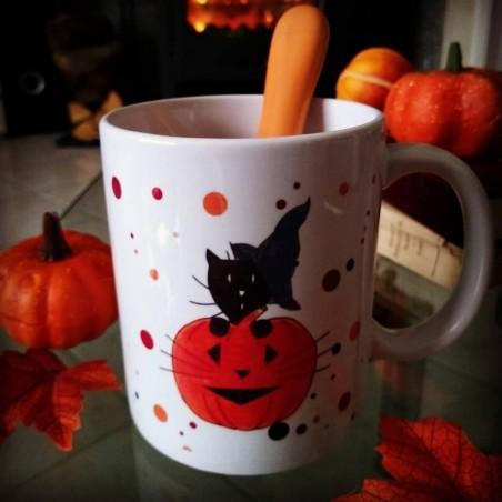 Mug Halloween, chat sorcier et citrouille, Tribu de chats