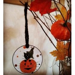 Suspension pour Halloween, chat sorcier et citrouille, Tribu de chats