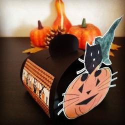 Boite à bonbons Halloween, chat sorcier et citrouille, Tribu de chats