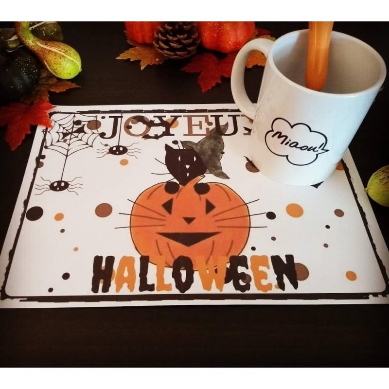 Set de table Halloween, chat sorcier et citrouille, Tribu de chats
