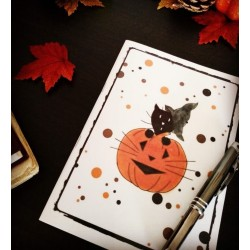 Carnet de notes Halloween, chat sorcier et citrouille, Tribu de chats