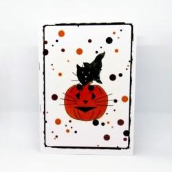 Carnet de notes Halloween, chat sorcier et citrouille, Tribu de chats