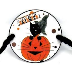 Rond de serviette Halloween, chat sorcier et citrouille, détail, Tribu de chats