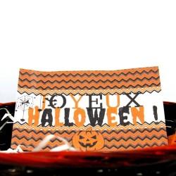 Corbeille à bonbons  Halloween, chat sorcier et citrouille, détail 2, Tribu de chats