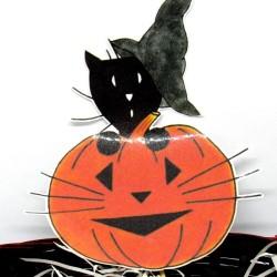 Corbeille à bonbons  Halloween, chat sorcier et citrouille, détail, Tribu de chats
