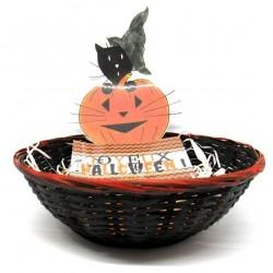 Corbeille à bonbons  Halloween, chat sorcier et citrouille, Tribu de chats