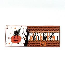 Etiquette autocollante pour Halloween, chat sorcier et citrouille, Tribu de chats