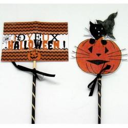 Piques décoratives pour corbeille à bonbons Halloween, chat sorcier et citrouille, détail, Tribu de chats