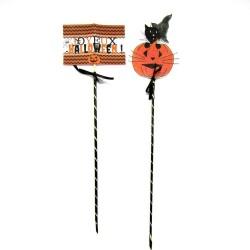 Piques décoratives pour corbeille à bonbons Halloween, chat sorcier et citrouille, Tribu de chats