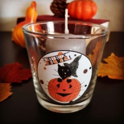 Photophore Halloween, chat sorcier et citrouille, verre,photo, Tribu de chats