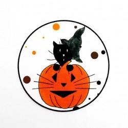 Marque-place Halloween, chat sorcier et citrouille, Tribu de chats