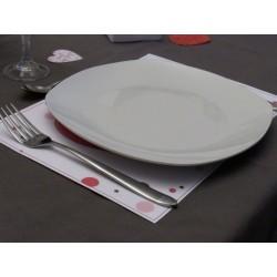 Set de table Saint-Valentin, motif tête de chat dans un coeur, Tribu de chats, exemple de présentation