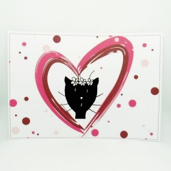 Set de table elle Saint-Valentin, motif madame chat dans un coeur, Tribu de chats