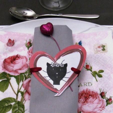 Rond de serviette elle Saint-Valentin motif madame chat dans un coeur Tribu de chats noué autour de la serviette