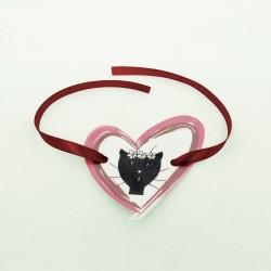 Rond de serviette elle Saint-Valentin, motif madame chat dans un coeur, Tribu de chats
