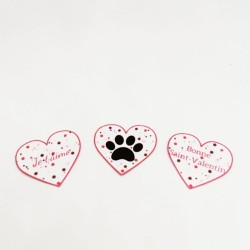 3 confetti de table coeurs de Saint-Valentin, motif patte de chat dans un coeur et textes, Tribu de chats