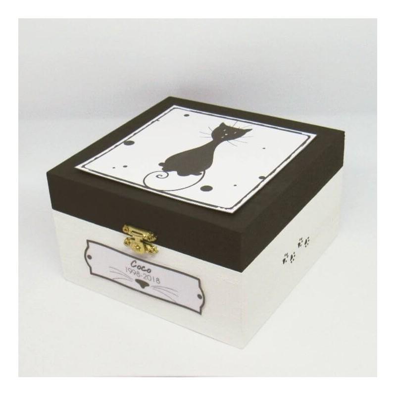Urne funéraire pour chat en bois, motif chat assis, carrée, noir et blanc, Tribu de chats.