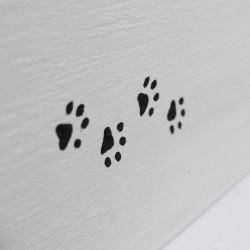 Urne funéraire pour chat en bois, motif chat, pattes, carrée, noir et blanc, Tribu de chats.