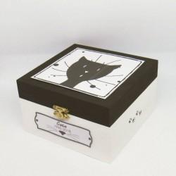 Urne funéraire pour chat en bois, motif tête de chat, carrée, noir et blanc, Tribu de chats.