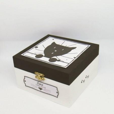 Urne funéraire pour chat en bois, motif tête de chat curieux, carrée, noir et blanc, Tribu de chats.