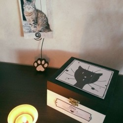Exemple Urne funéraire pour chat en bois, motif tête de chat, carrée, noir et blanc, Tribu de chats.
