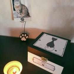 Exemple Urne funéraire pour chat en bois, motif chat assis, carrée, noir et blanc, Tribu de chats.