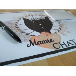 Sous-main Mamie chat, motif tête de chat, détail, Tribu de chats