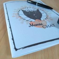Petit carnet de notes chat, Mamie chat, tête de chat noir, A5, détail 1 Tribu de chats