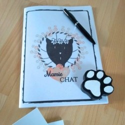 Petit carnet de notes chat, Mamie chat, tête de chat noir, A5, exemple, Tribu de chats