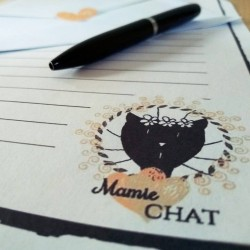 Papier à lettre Mamie chat, motif madame chat, détail, Tribu de chats.