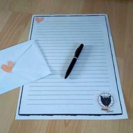 Papier à lettre Mamie chat, motif madame chat, exemple, Tribu de chats.