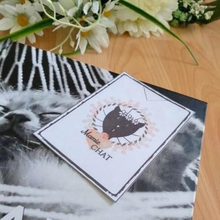 Marque page papier plastifié, Mamie chat, motif tête de chat, exemple 1,Tribu de chats