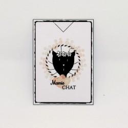 Marque page papier plastifié, Mamie chat, motif tête de chat, Tribu de chats