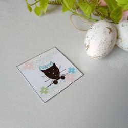 4 confetti de table de Pâques, motif oeufs, lapin et chat, détail 1, Tribu de chats