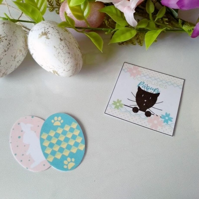4 confetti de table de Pâques, motif oeufs, lapin et chat, photo exemple, Tribu de chats