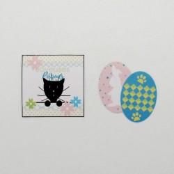4 confetti de table de Pâques, motif oeufs, lapin et chat, Tribu de chats