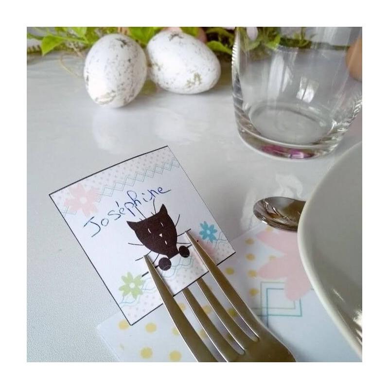 Marque-place Pâques, chat et fleur, détail, Tribu de chats