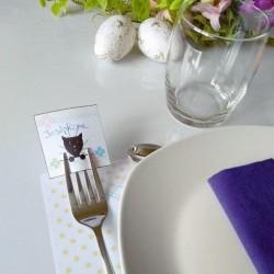 Marque-place Pâques, chat et fleur, photo exemple, Tribu de chats