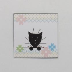 Marque-place Pâques, chat et fleur, Tribu de chats