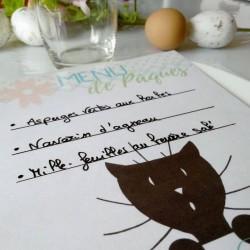 Menu de Pâques, chat et fleurs, détail, Tribu de chats