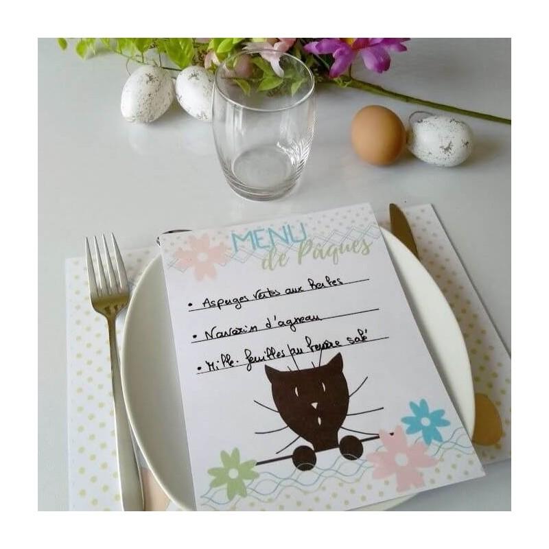 Menu de Pâques, chat et fleurs, photo exemple, Tribu de chats