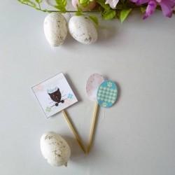 Piques décoratives pour corbeille à chocolats de Pâques, chat et fleurs, Photo exemple, Tribu de chats