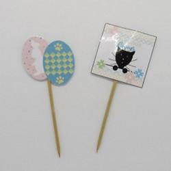 Piques décoratives pour corbeille à chocolats de Pâques, chat et fleurs, Tribu de chats